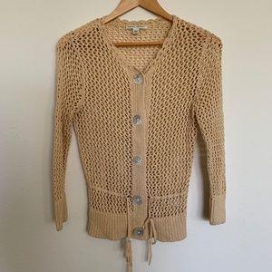 Cream Yellow Open Knit Sweater